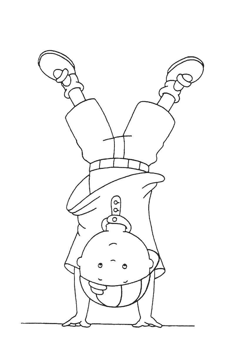 Раскраска Мальчик стоит на голове Скачать мальчик, голова.  Распечатать ,Люди,