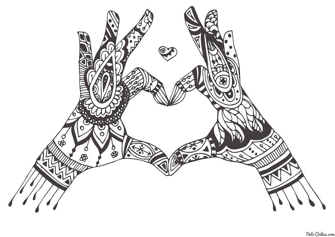 Раскраска Руки Скачать руки, антистресс.  Распечатать ,раскраски антистресс,