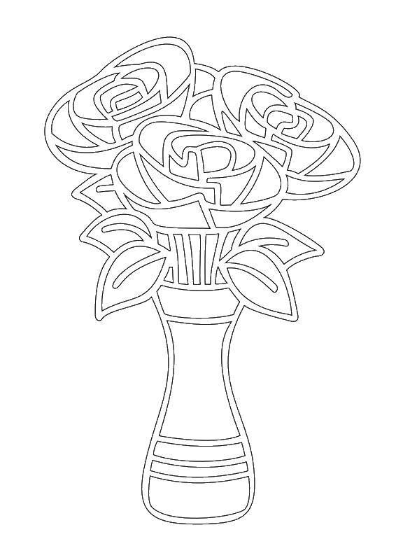 Раскраска Ваза с цветами Скачать ваза, цветы.  Распечатать ,раскраски,