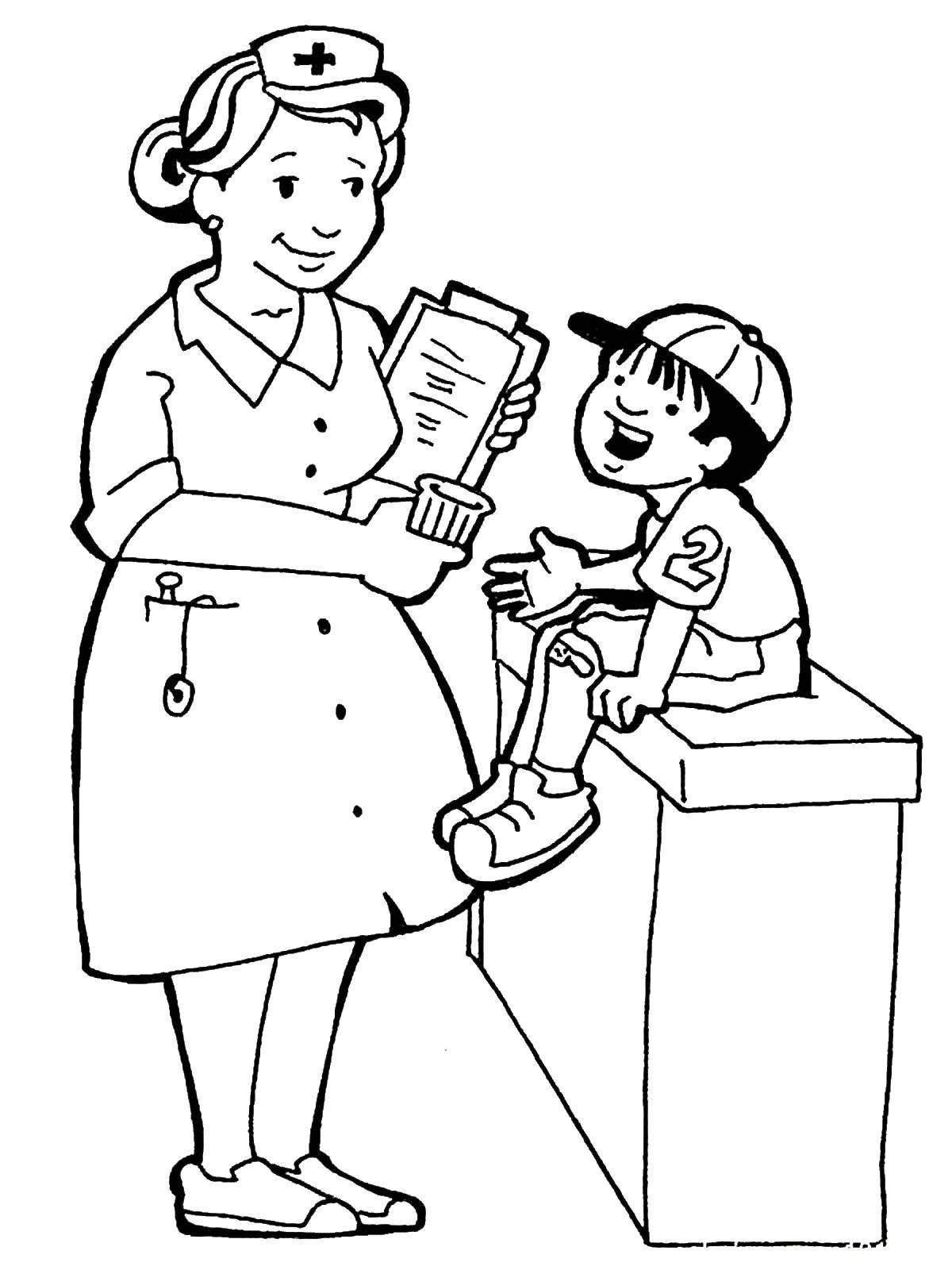 Раскраска Медсестра Скачать ,медсестра,профессии,.  Распечатать