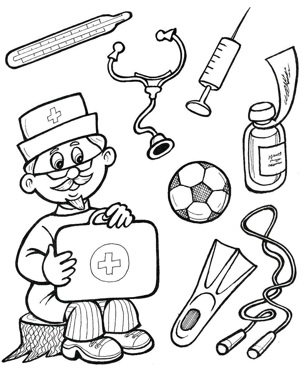 Раскраска доктор Скачать ,доктор, лекарство, Айболит,.  Распечатать