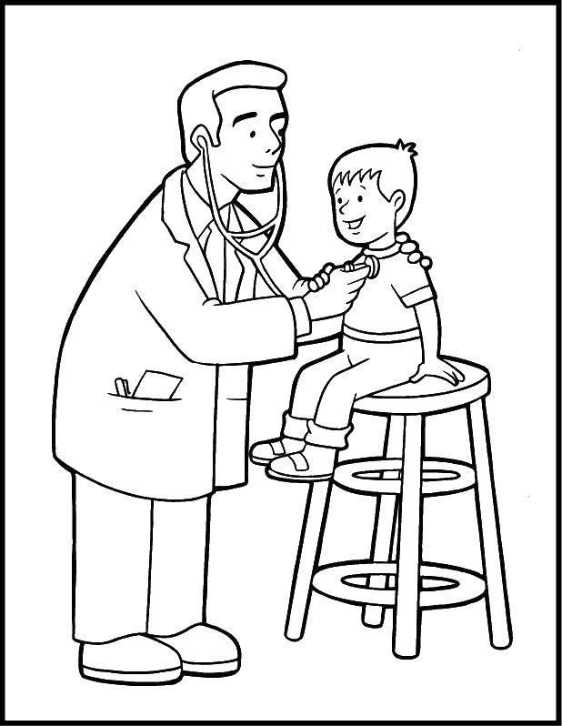 Раскраска доктор Скачать ,доктор, мальчик,.  Распечатать