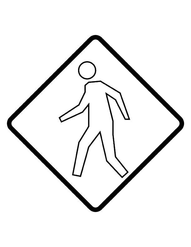 Название: Раскраска Люди. Категория: правила дорожного движения. Теги: дорожный знак.