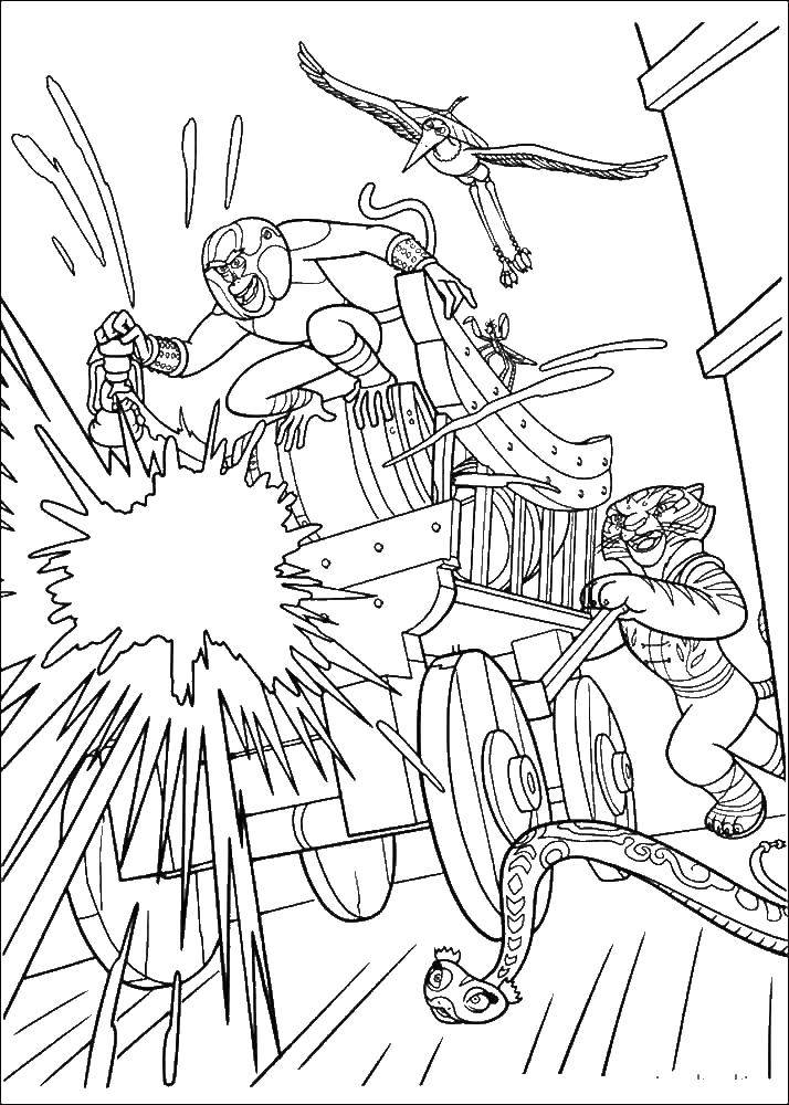 Раскраска Кунг фу мастера идут в атаку на тележке Скачать обезьяна.  Распечатать ,кунг фу панда,