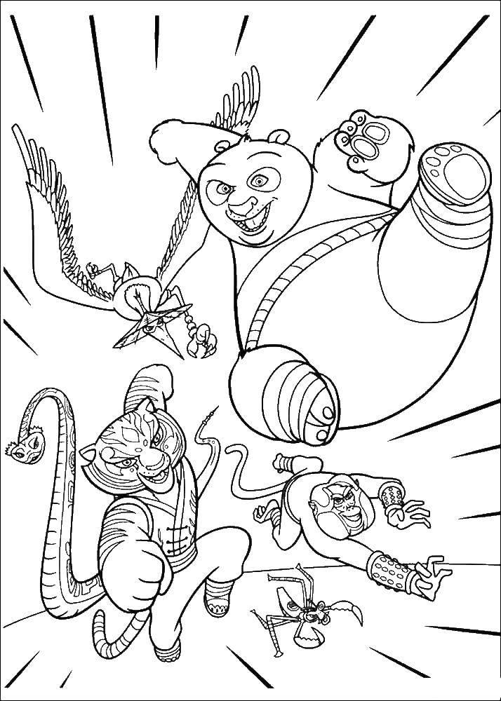 Раскраска Кунг фу мастера идут в атаку Скачать панда.  Распечатать ,кунг фу панда,