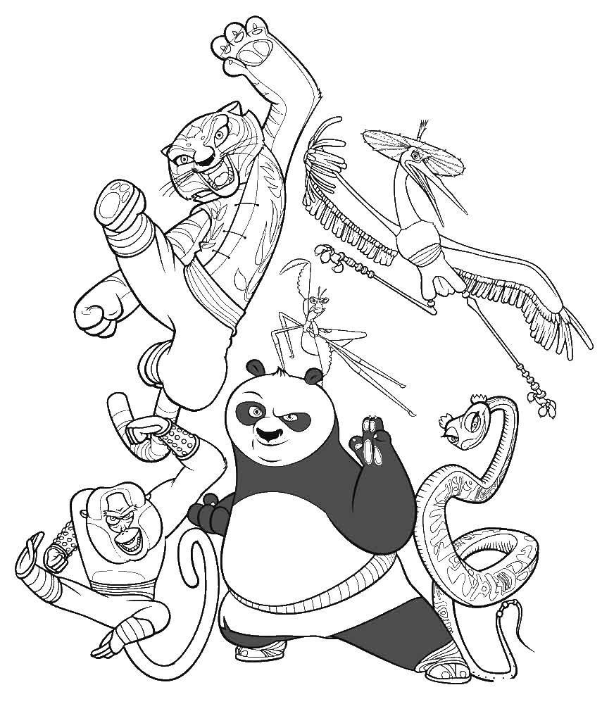 Раскраска Кунг фу панда и воины дракона Скачать кунг фу панда, Воин дракона.  Распечатать ,кунг фу панда,