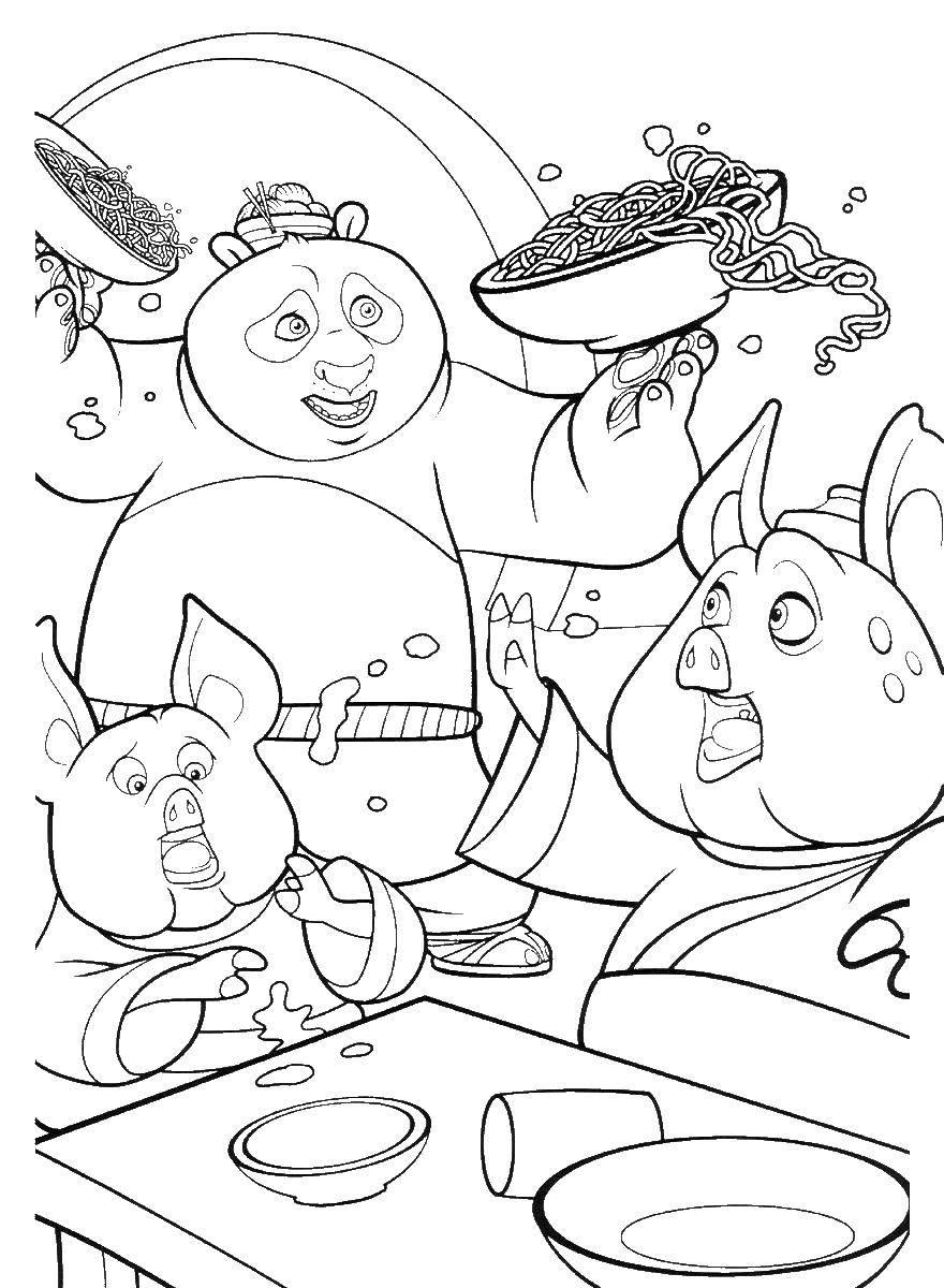 Раскраска Кунг фу панда официант Скачать кунг фу панда, Воин дракона.  Распечатать ,кунг фу панда,