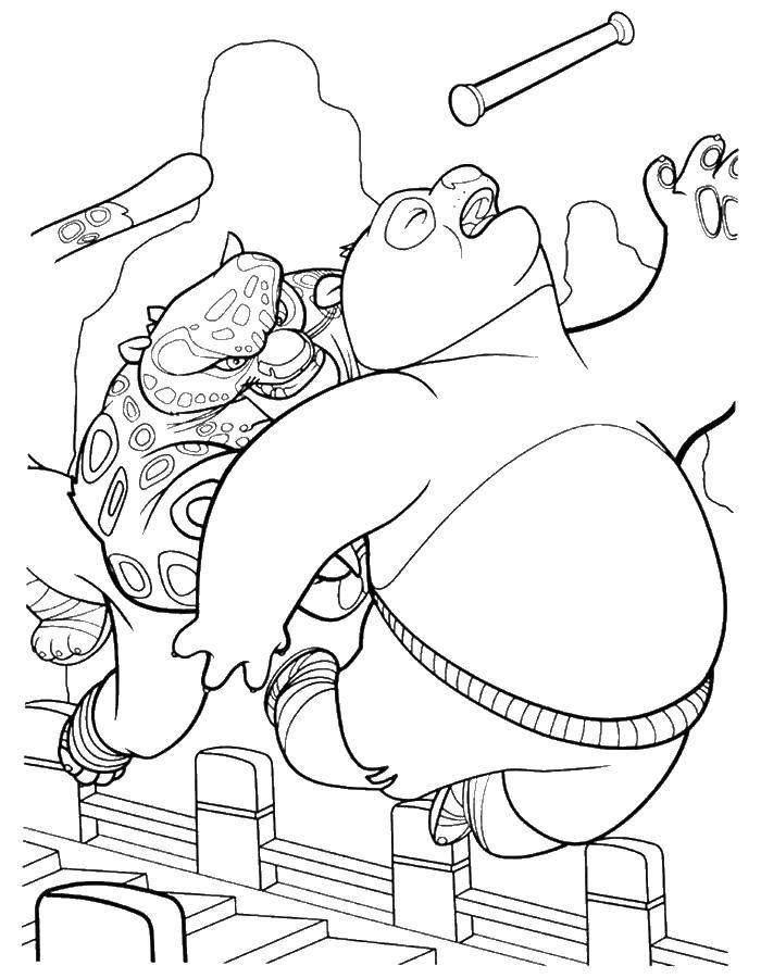 Раскраска Кунг фу панда против тай лунга Скачать кунг фу панда, Тай Лунг.  Распечатать ,кунг фу панда,
