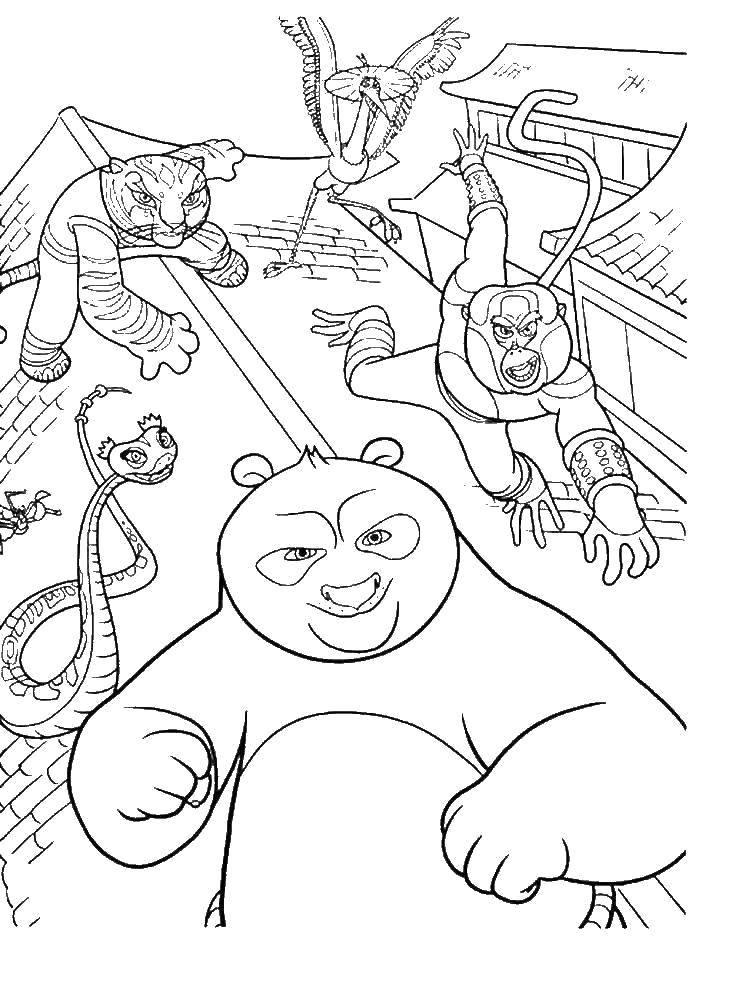 Раскраска Кунг фу панда с командой Скачать кунг фу панда, команда.  Распечатать ,кунг фу панда,