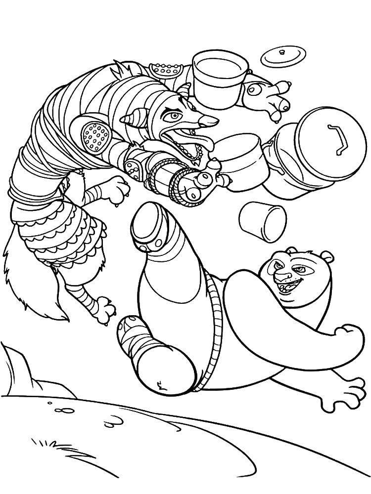Раскраска Кунг фу панда в бою Скачать кунг фу панда.  Распечатать ,кунг фу панда,