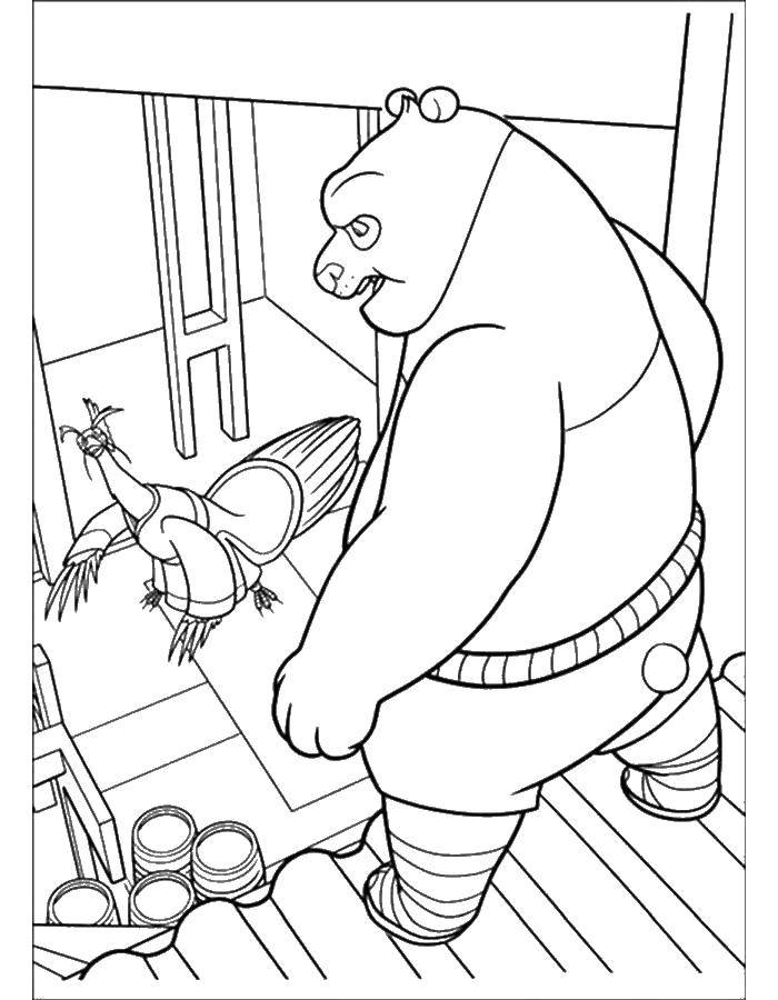 Раскраска Кунг фу панда Скачать кунг фу панда, Воин дракона.  Распечатать ,кунг фу панда,