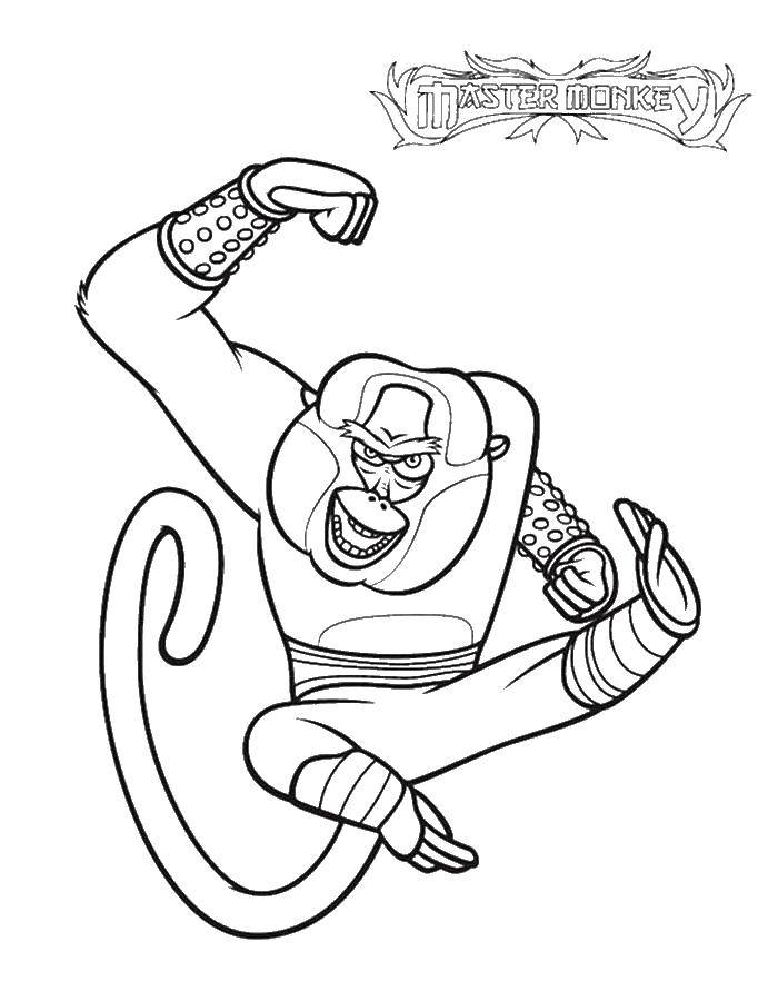 Раскраска Мастер обезьяна Скачать кунг фу панда, Мастер Обезьяна.  Распечатать ,кунг фу панда,
