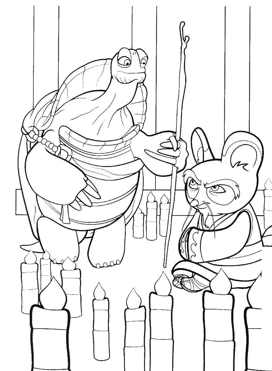 Раскраска Мастер угвей и шифу Скачать Мастер, Шифу, кунг фу панда.  Распечатать ,кунг фу панда,