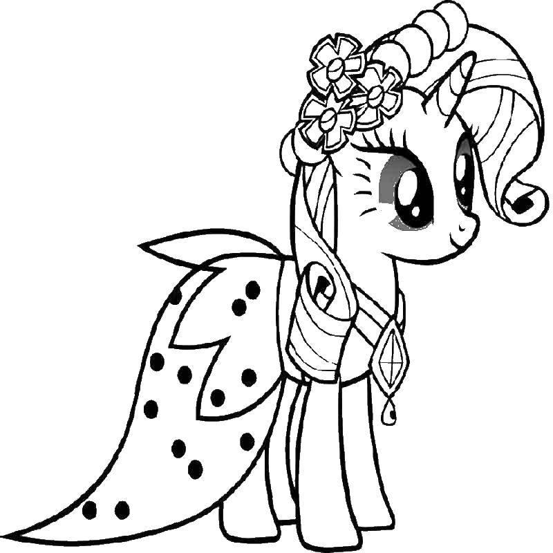 Раскраска Мой милый пони рарити Скачать Пони.  Распечатать ,мультики,