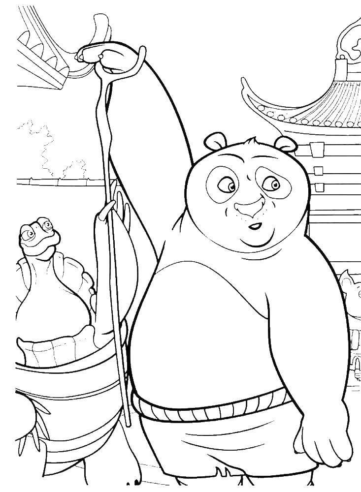Раскраска Панда делает лапшу Скачать панда.  Распечатать ,кунг фу панда,