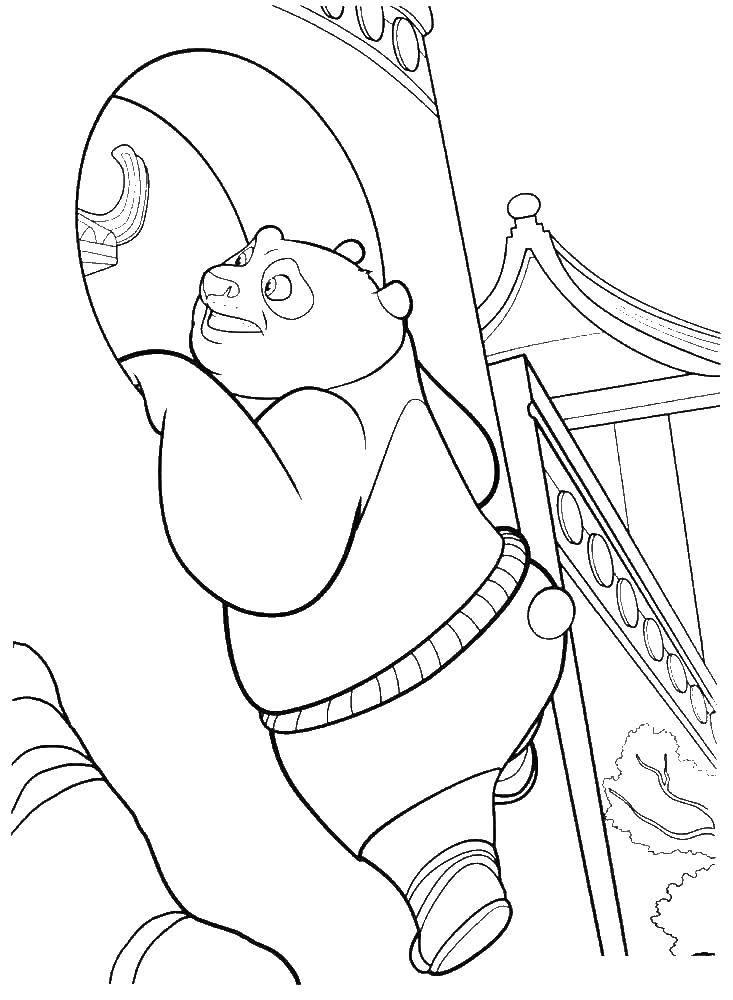 Раскраска Панда лезет в окно Скачать панда.  Распечатать ,кунг фу панда,