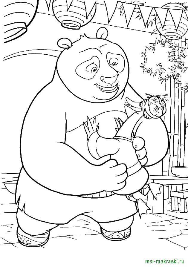 Раскраска Панда с папой гусем Скачать панда, гусь.  Распечатать ,кунг фу панда,