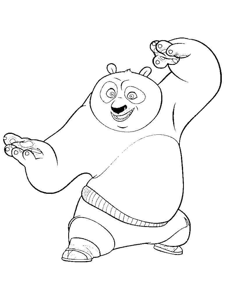 Раскраска Панда в стойке Скачать панда.  Распечатать ,кунг фу панда,