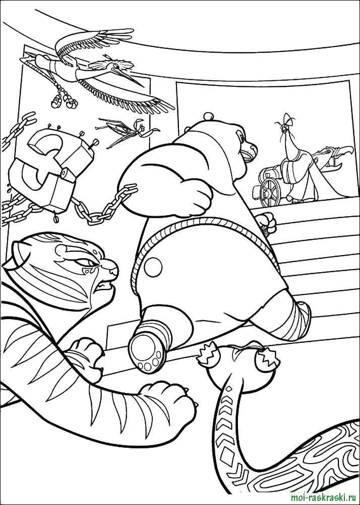 Раскраска Панда вырвался из оков Скачать панда.  Распечатать ,кунг фу панда,