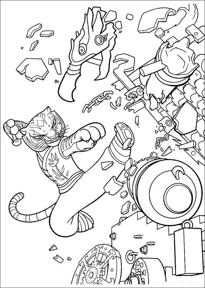 Раскраска Тигрица громит врагов Скачать тигрица.  Распечатать ,кунг фу панда,