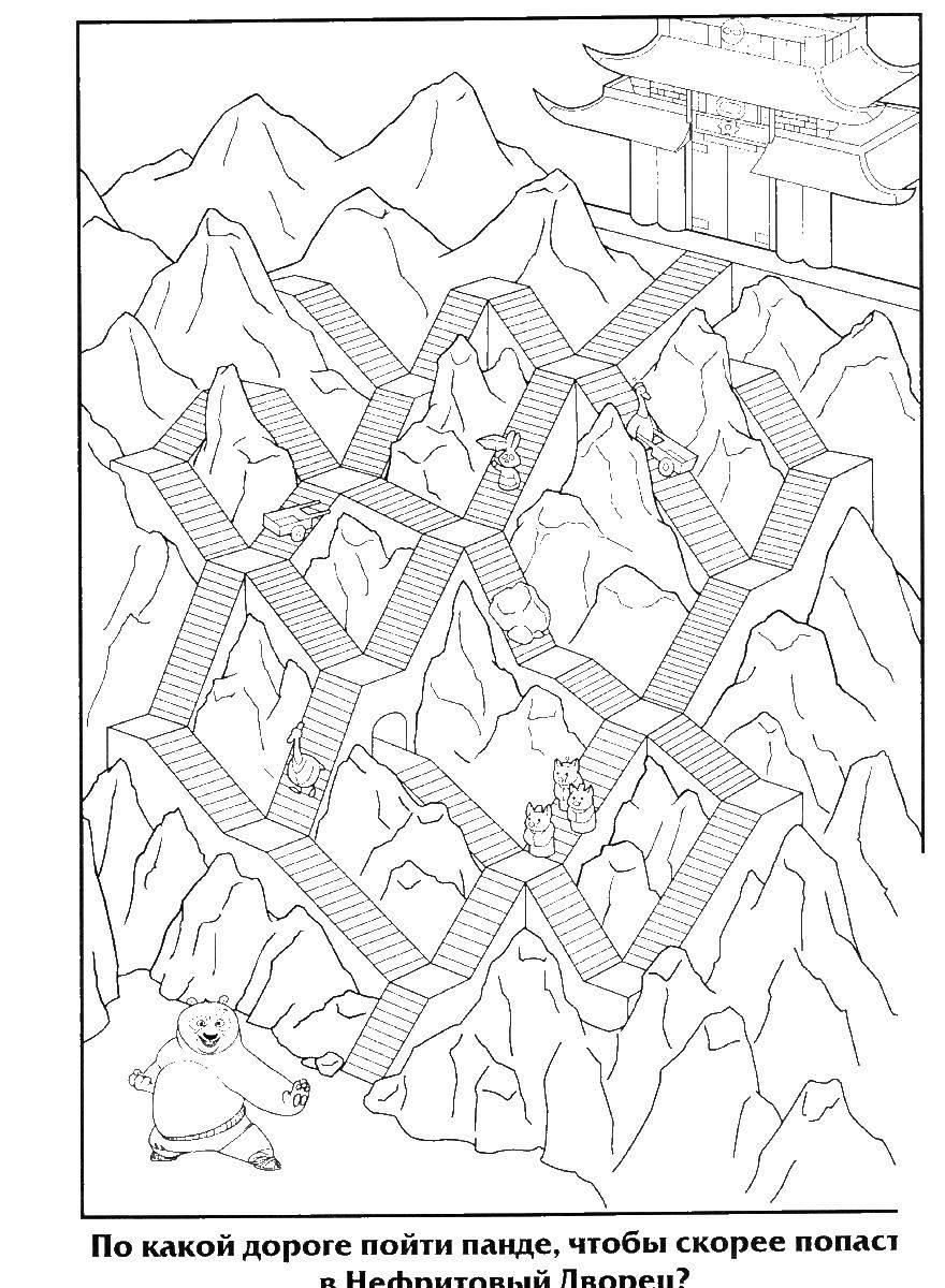 Раскраска Лабиринт для кунг фу панды Скачать кунг фу панда, лабиринт.  Распечатать ,кунг фу панда,