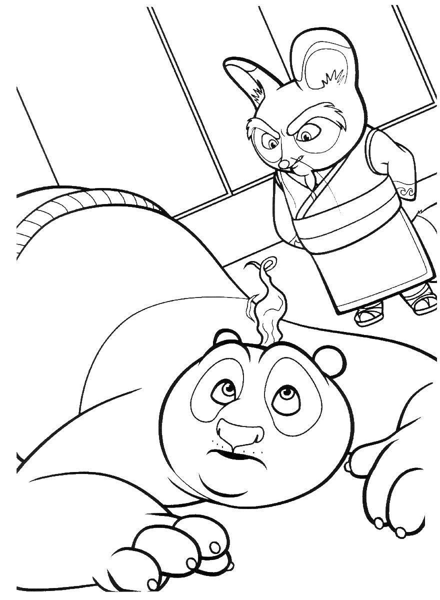 Раскраска Мастер шифу учит панду Скачать ,мастер шифу,.  Распечатать