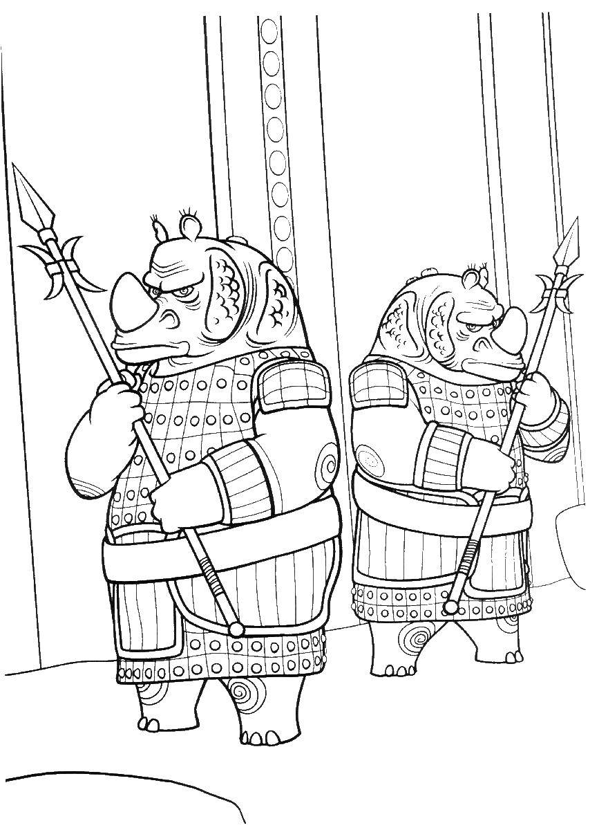 Раскраска Стражи носороги Скачать носорог.  Распечатать ,кунг фу панда,