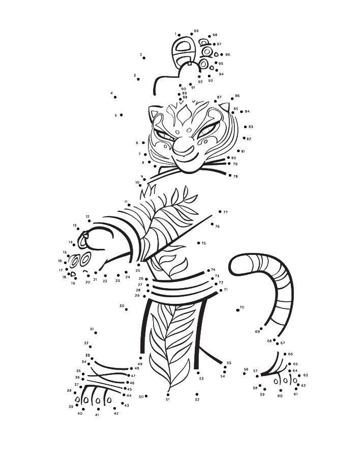 Раскраска Тигрица по точкам Скачать обведи по точкам.  Распечатать ,кунг фу панда,