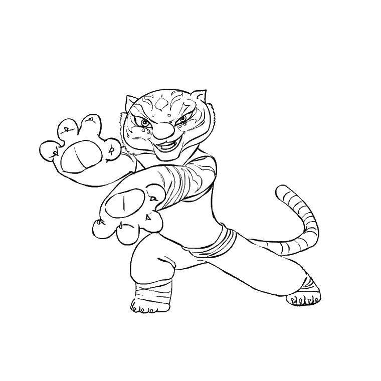 Раскраска Тигрица Скачать тигрица.  Распечатать ,кунг фу панда,