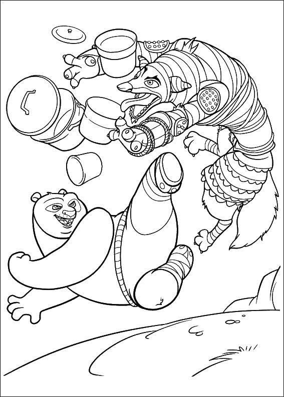 Раскраска Генерал волк Скачать Генерал Волк, кунг фу панда.  Распечатать ,кунг фу панда,
