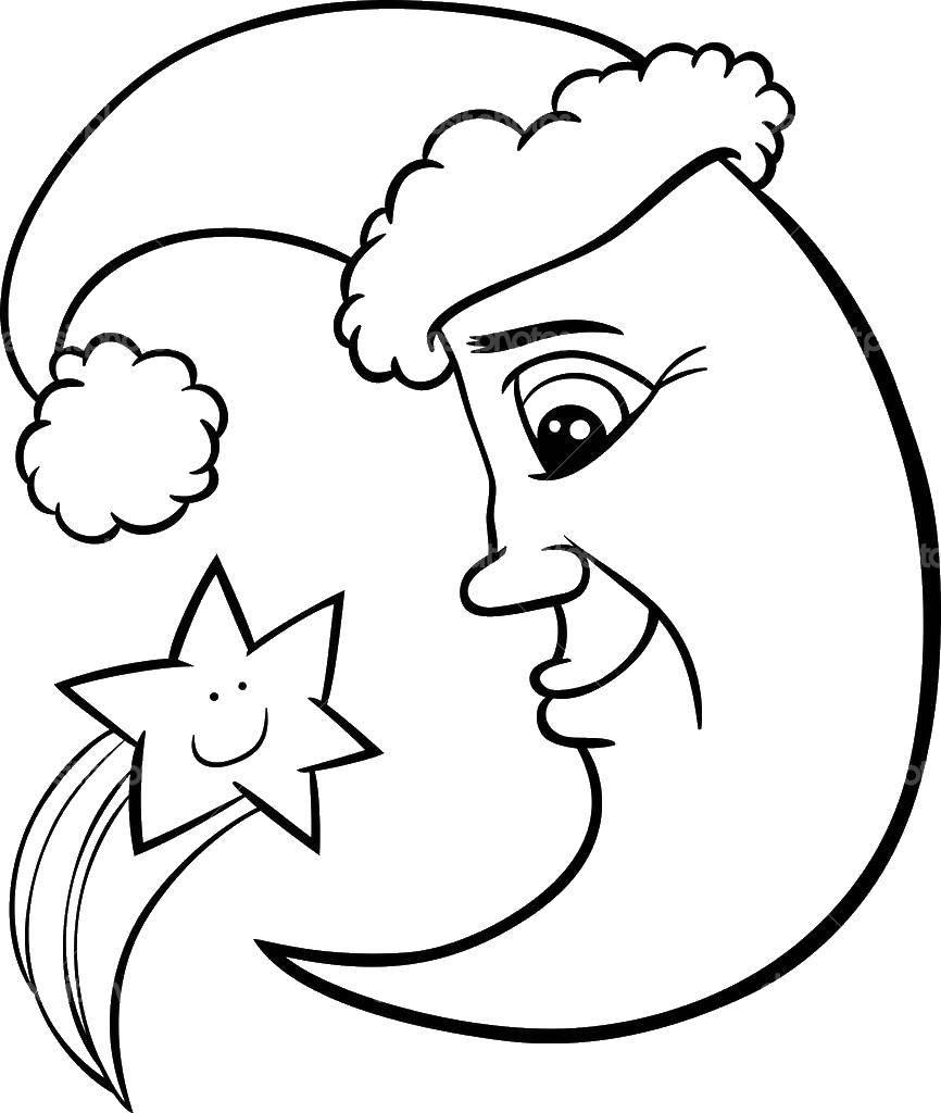Раскраска луна Скачать ,звезда,.  Распечатать