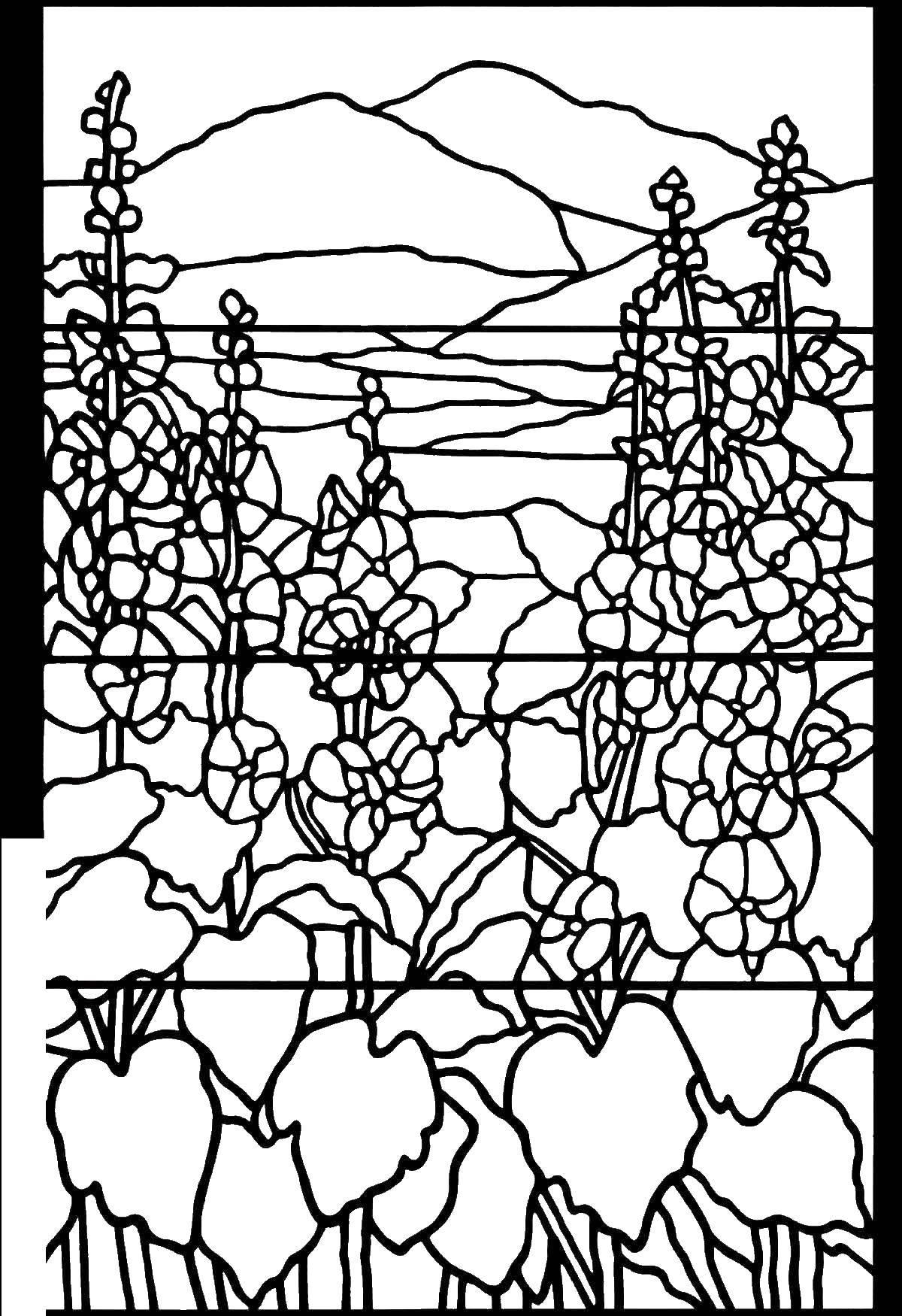 Раскраска витражи Скачать щенки, бабочки, корзина, косточки.  Распечатать ,собаки,