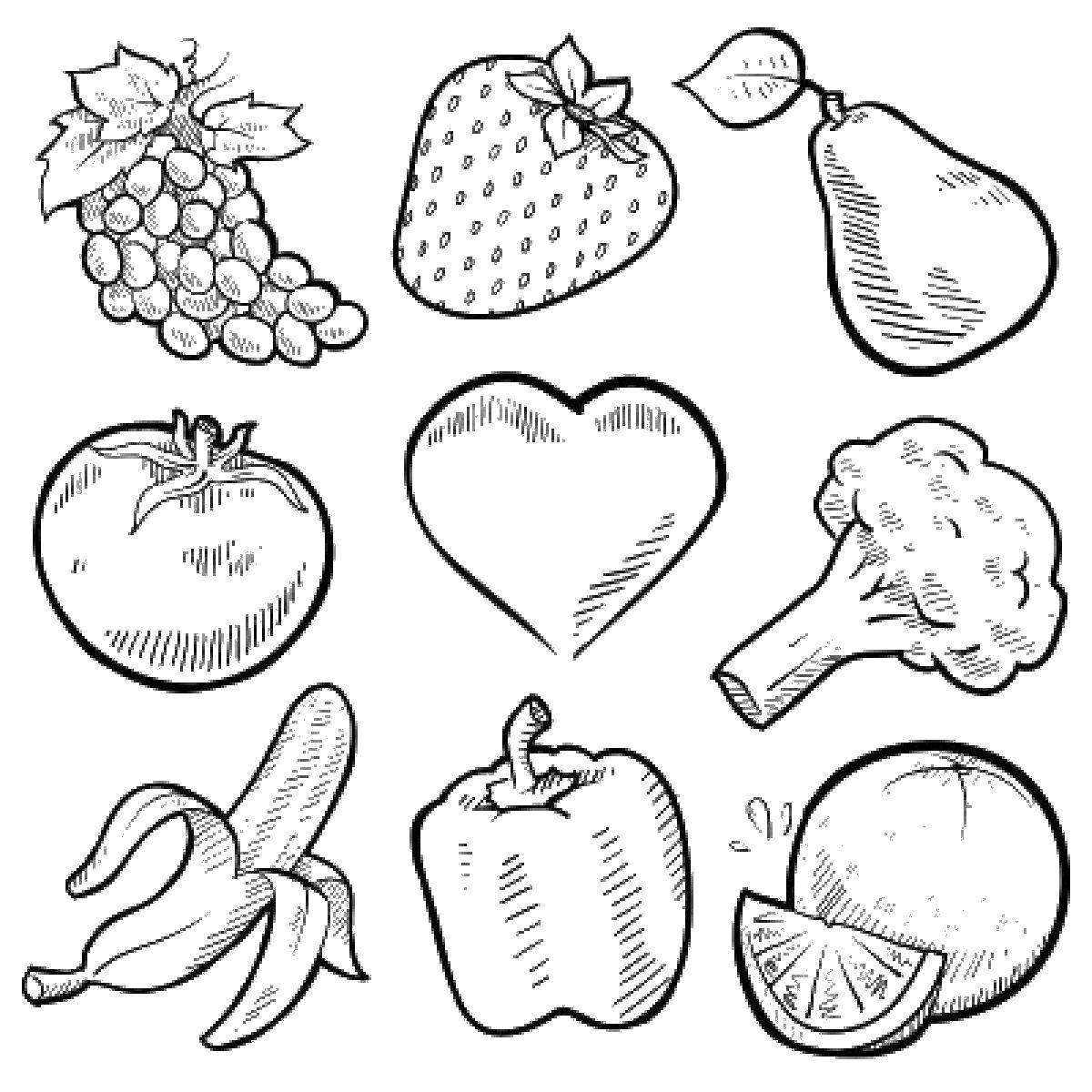 Раскраски фрукты, Раскраска Овощи и фрукты Овощи.