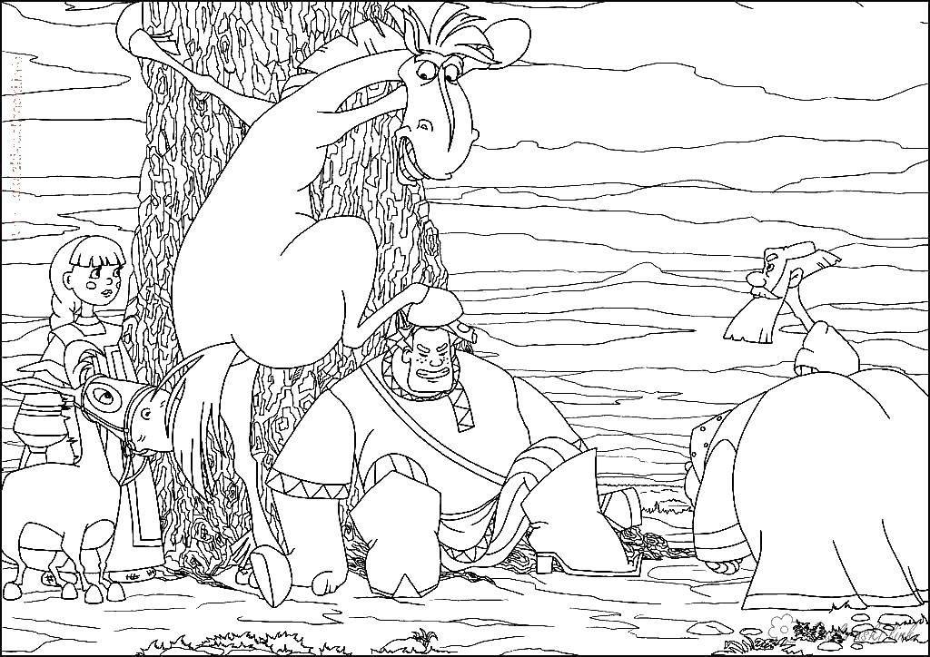 Раскраска Алеша попович с конем Скачать Алеша Попович, богатырь, сказка.  Распечатать ,Сказки,