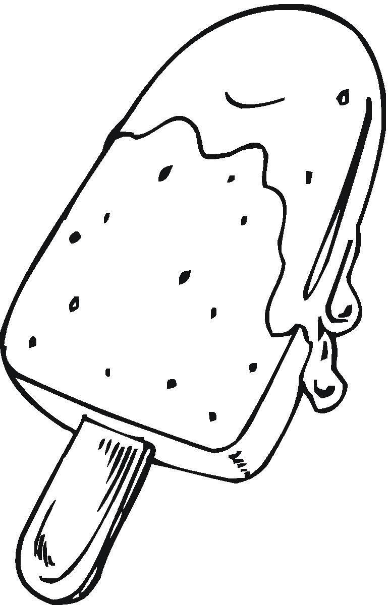 Раскраска Мороженое на палочке Скачать мороженое.  Распечатать ,мороженое,