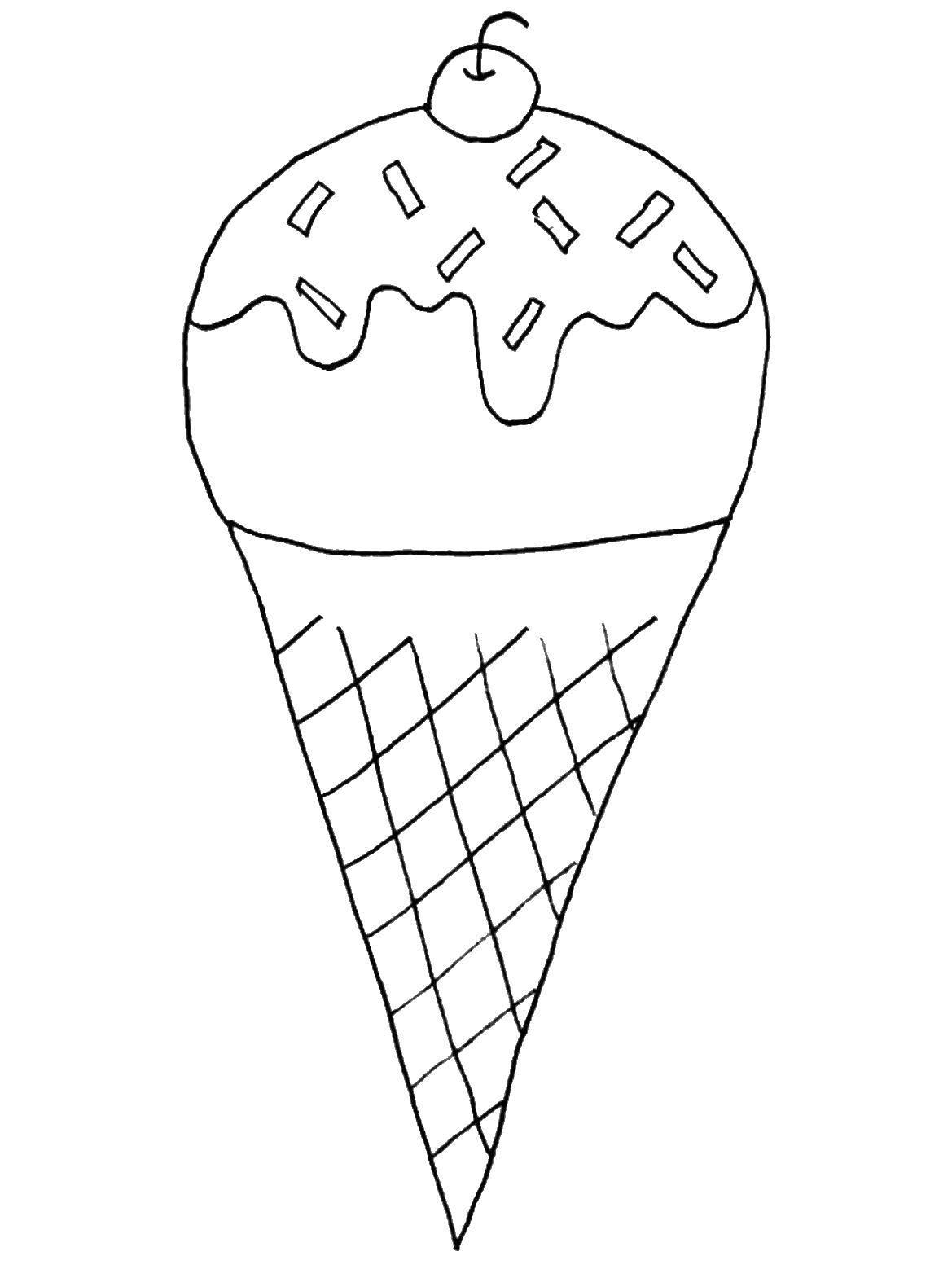 Раскраска Мороженое с вишенкой Скачать мороженое, шариковое мороженое.  Распечатать ,мороженое,