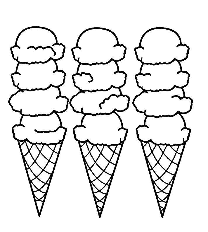Online Coloring Pages Coloring Page Three Cups Of Ice Cream Ice