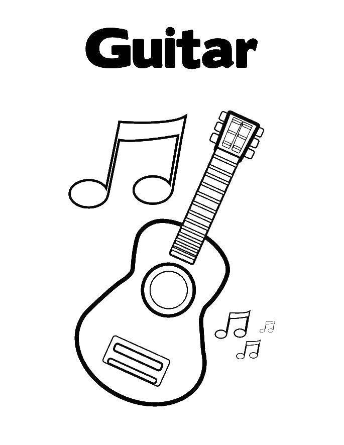 Раскраска Гитара Скачать гитара.  Распечатать ,Музыкальный инструмент,