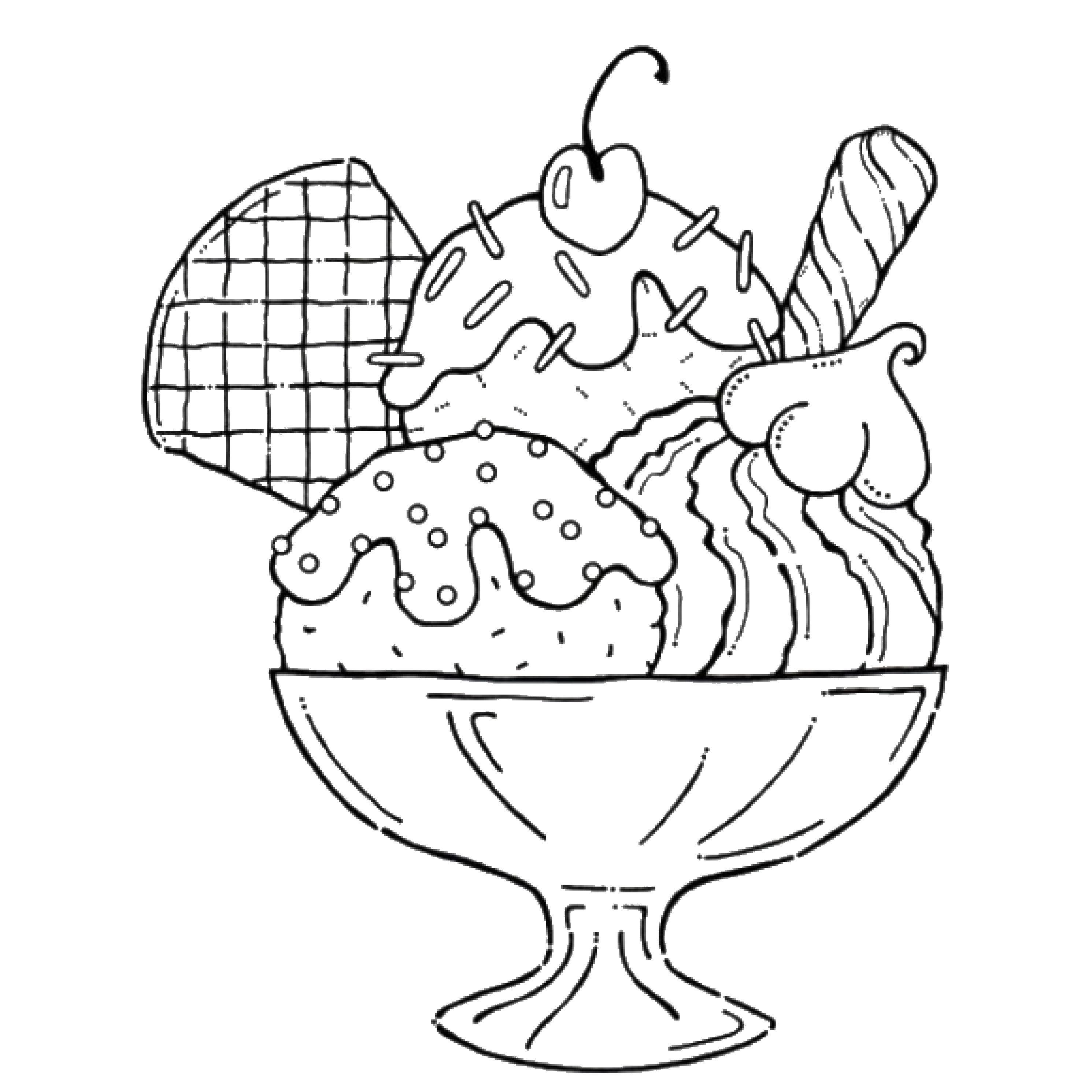 Раскраска Мороженое в стакане Скачать мороженое.  Распечатать ,мороженое,