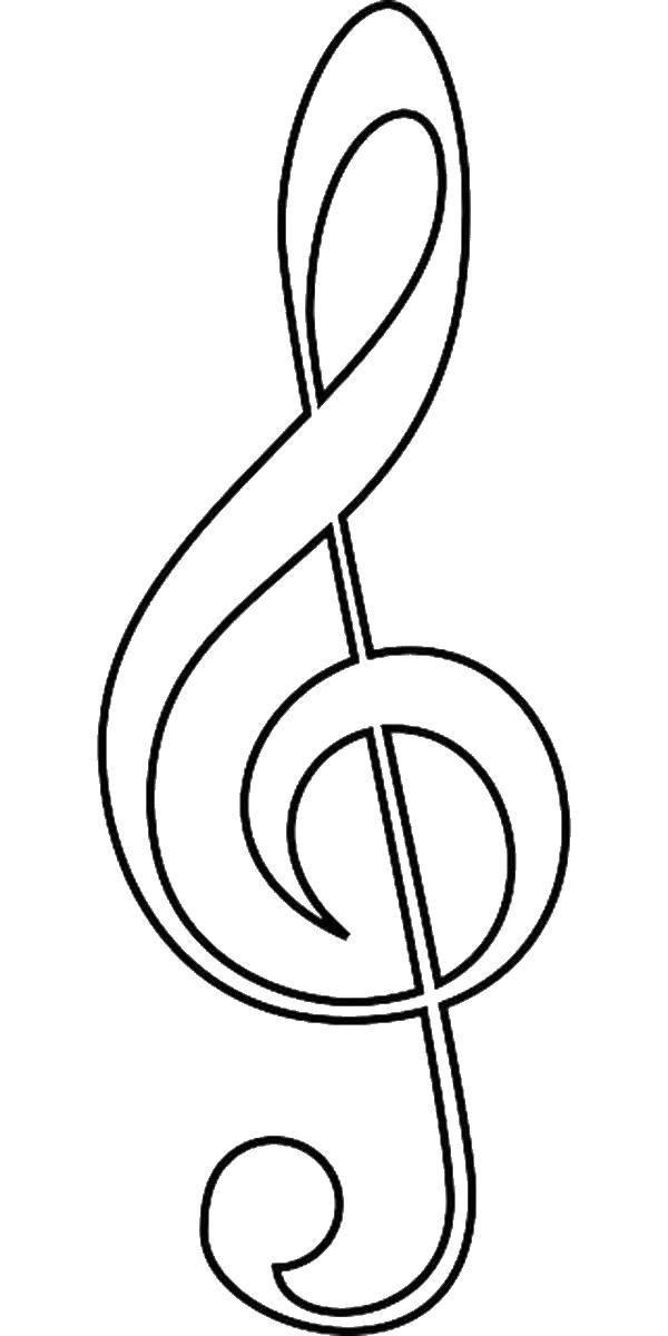 Раскраска Музыкальные ноты Скачать музыка, ноты.  Распечатать ,Музыка,