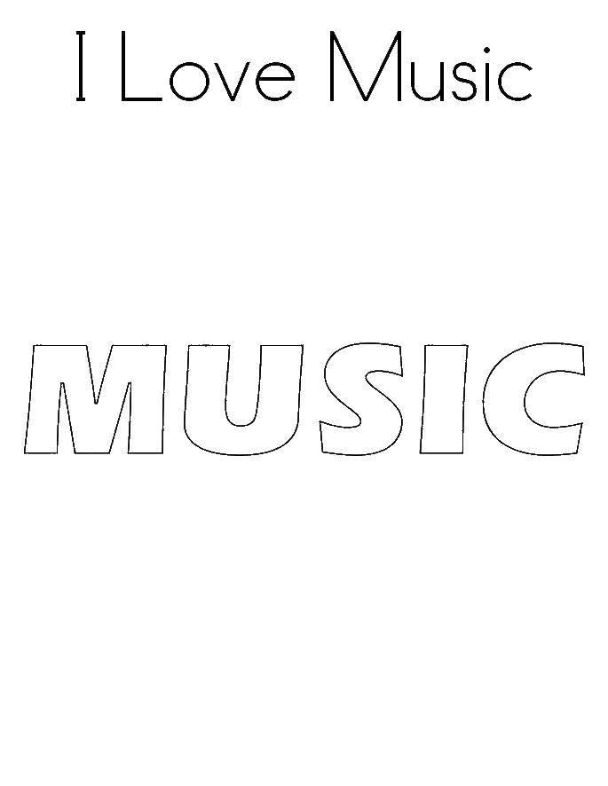 Раскраска Надпись музыка Скачать надпись, музыка.  Распечатать ,Музыка,