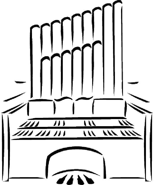 Раскраска Орган музыкальный инструмент Скачать орган, музыкальный инструмент.  Распечатать ,Музыкальный инструмент,