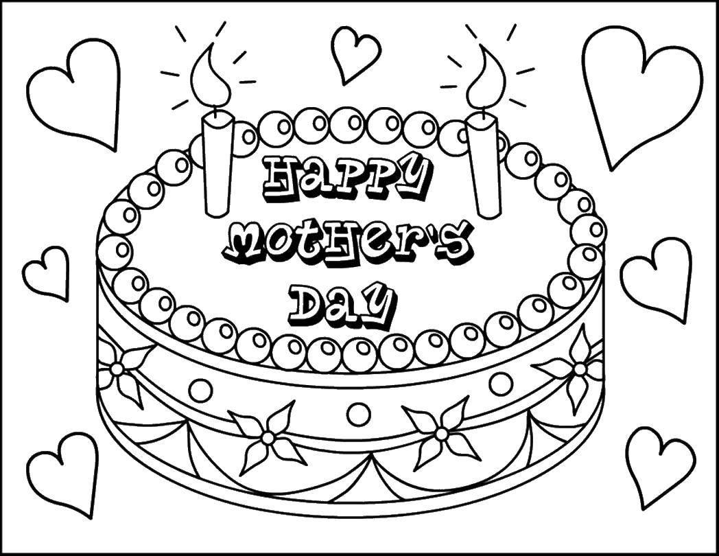 Раскраска торт со свечками Скачать радуга, облака.  Распечатать ,Радуга,