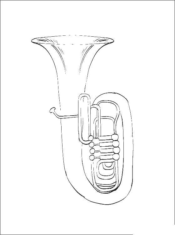 Online Coloring Pages Coloring Page Tube Musical Instruments
