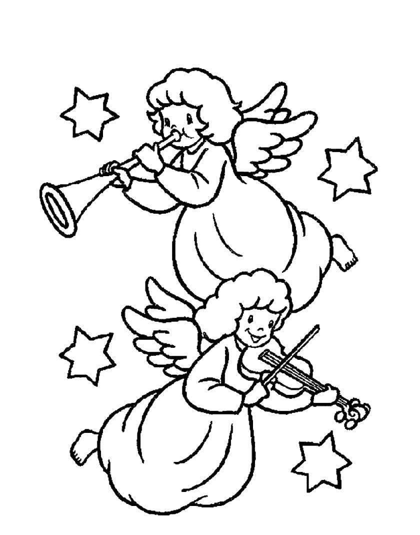 Раскраска Ангелы играют на музыкальном инструменте Скачать музыкальные инструменты.  Распечатать ,Музыка,