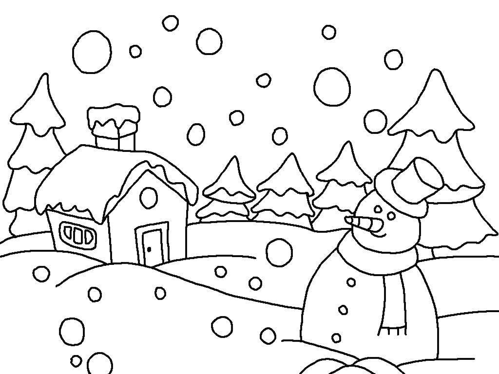 Раскраска зима Скачать ,Снеговик, снег, зима,.  Распечатать