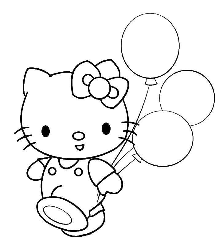 Раскраска Китти с шариками Скачать ,Китти,.  Распечатать