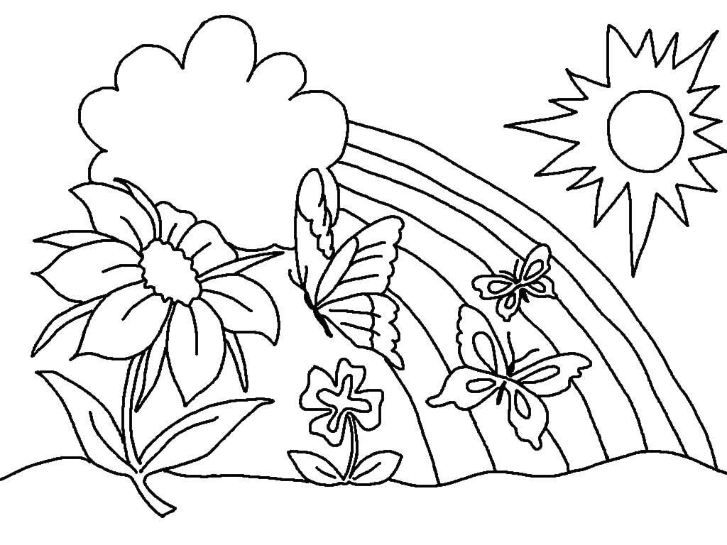 Раскраска Радужный день Скачать ,Природа, солнце, радуга,.  Распечатать