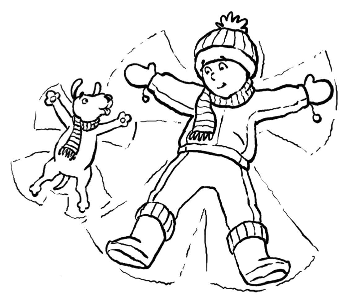 Раскраска Снежные ангелы Скачать Зима, дети, снег, веселье.  Распечатать ,зима,