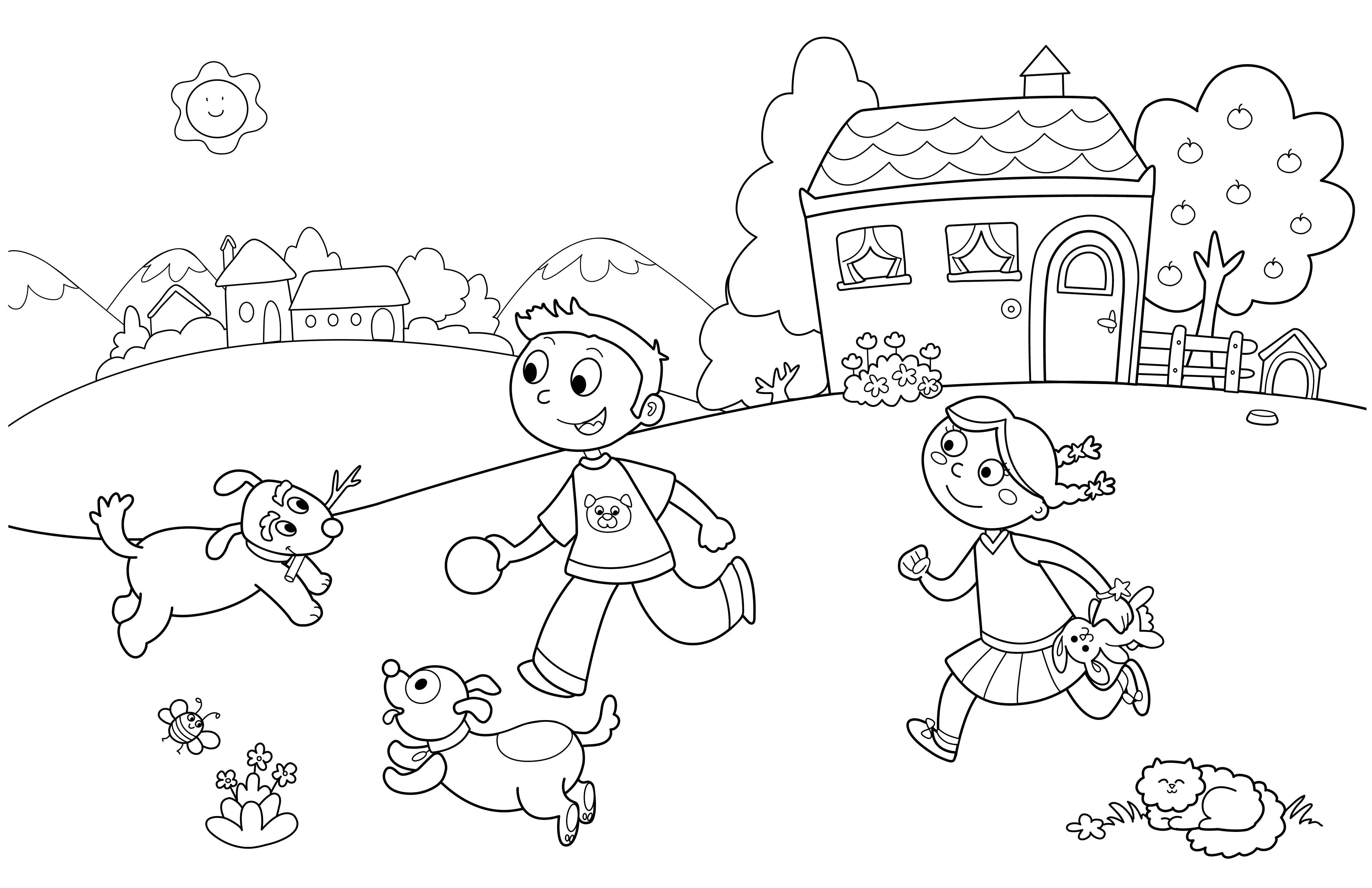 раскраски детей раскраска веселье детей с собачками дети